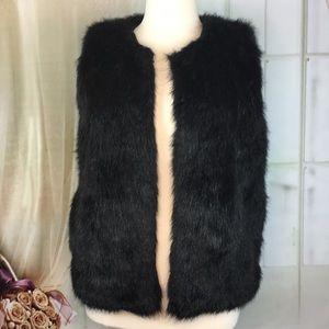 Dress Barn Black Faux Fur Vest
